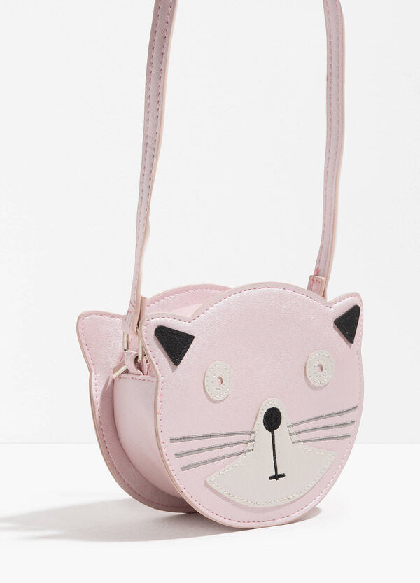 Kitten-shaped shoulder bag with patch