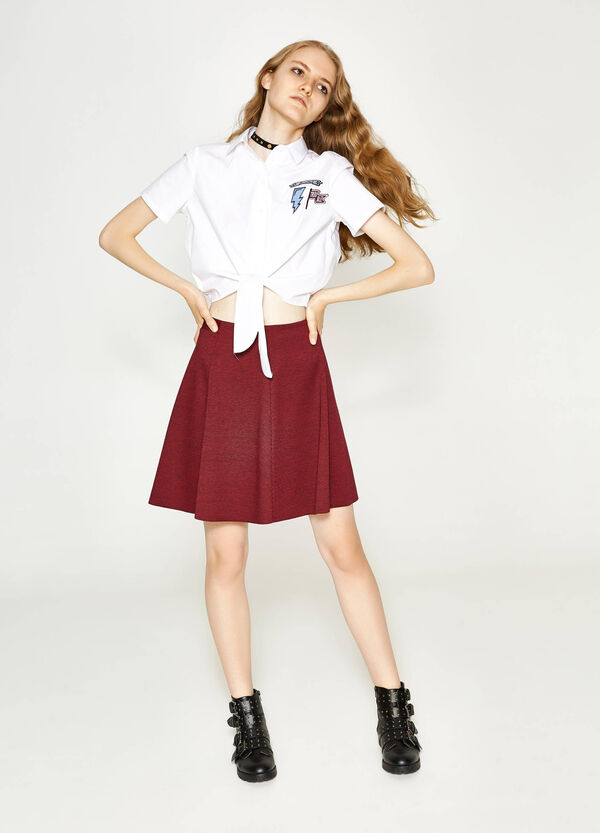 High-waisted skirt with micro-check pleats