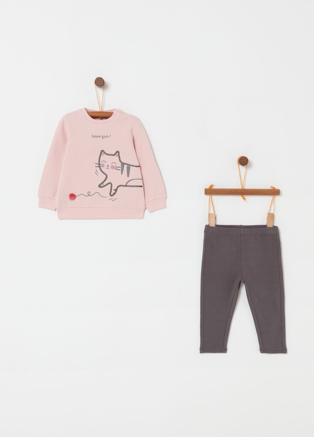 Top and trousers jogging set with kitten