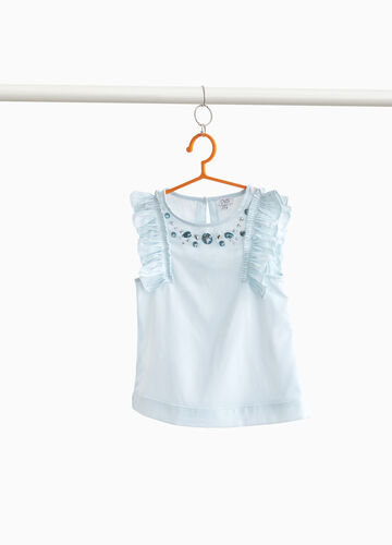 Solid colour top with ruffles and diamanté decoration