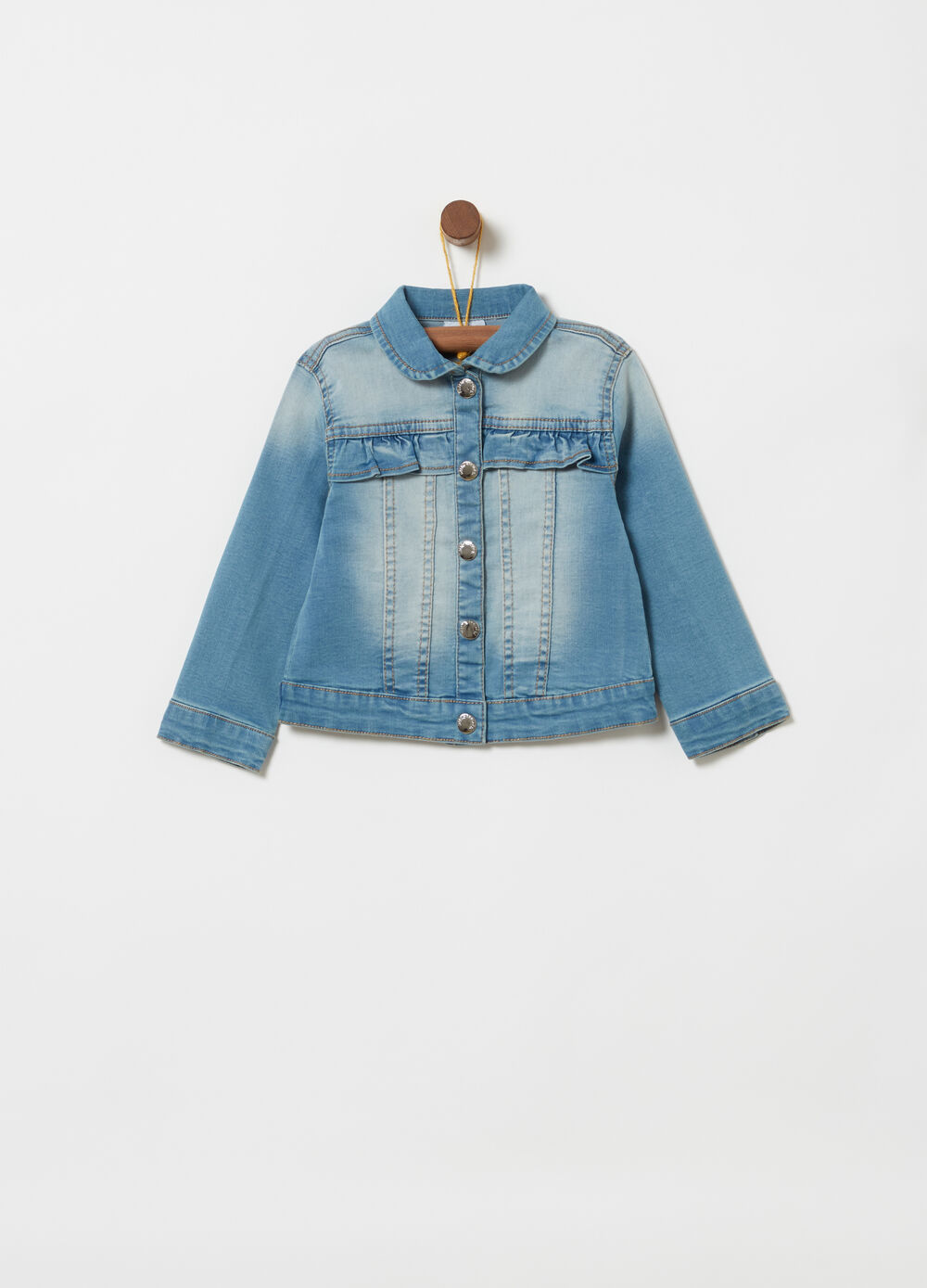 Stretch denim jacket with frills