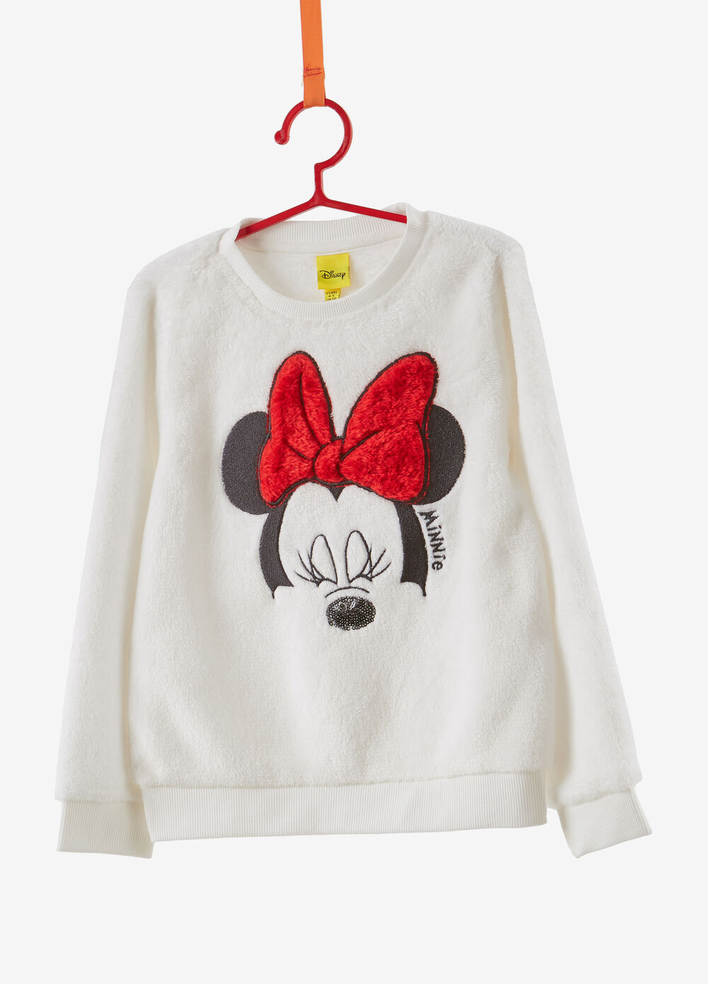 Faux fur effect sweatshirt with Minnie Mouse embroidery