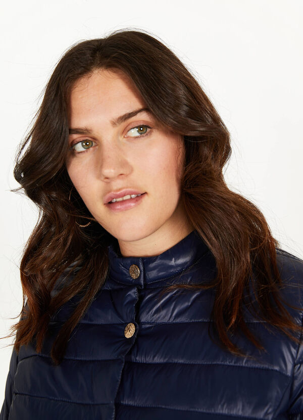 Curvy solid colour down jacket with buttons