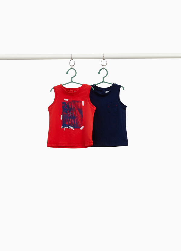 Two-pack vest tops with pocket and lettering