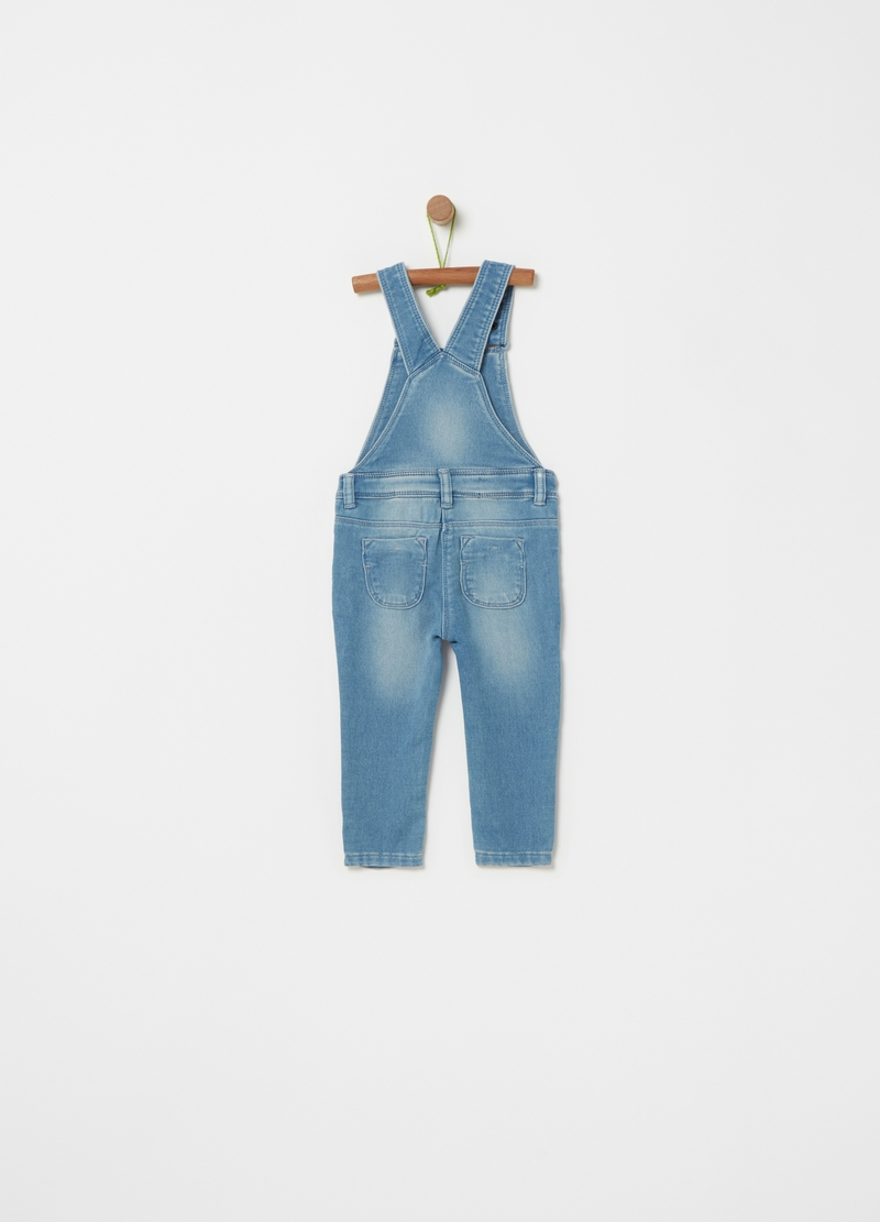 Stretch denim dungarees with embroidery image number null