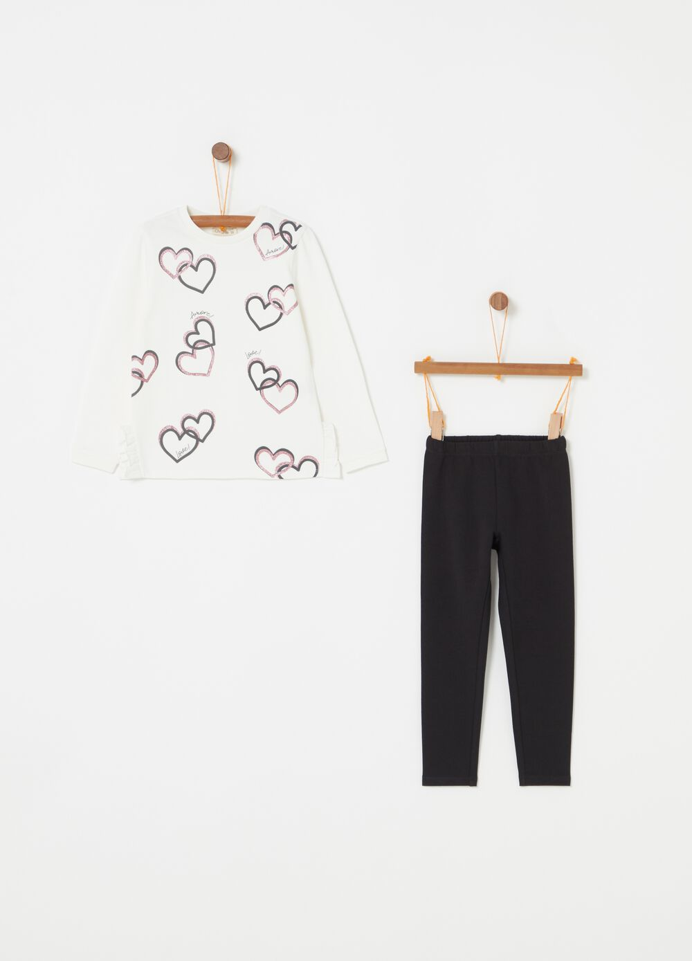 Cotton jogging set with glitter hearts print