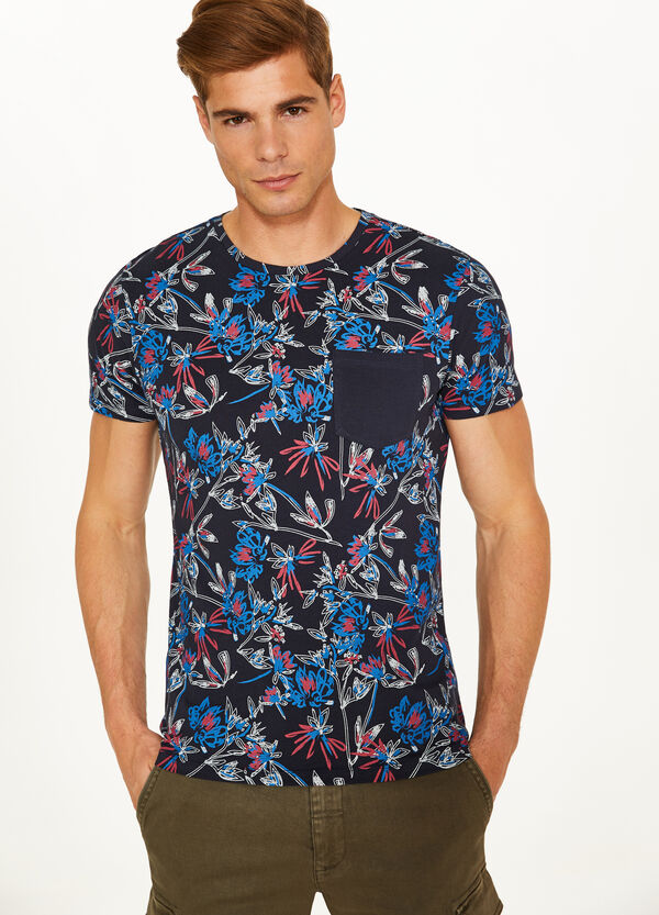 100% cotton T-shirt with all-over floral print