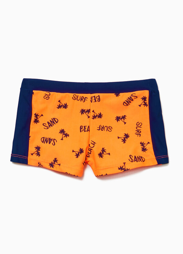 Palm patterned stretch swim boxer shorts