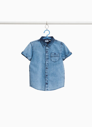 Mis-dyed-effect cotton shirt