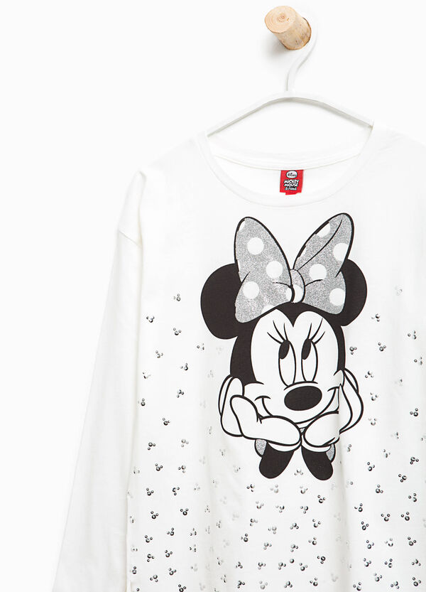 T-shirt with Minnie Mouse print and diamantés | OVS