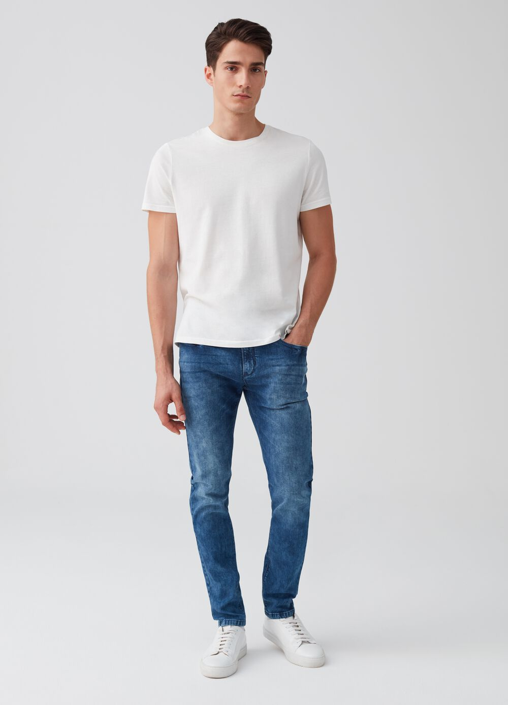 Jeans skinny fit stretch effetto maltinto