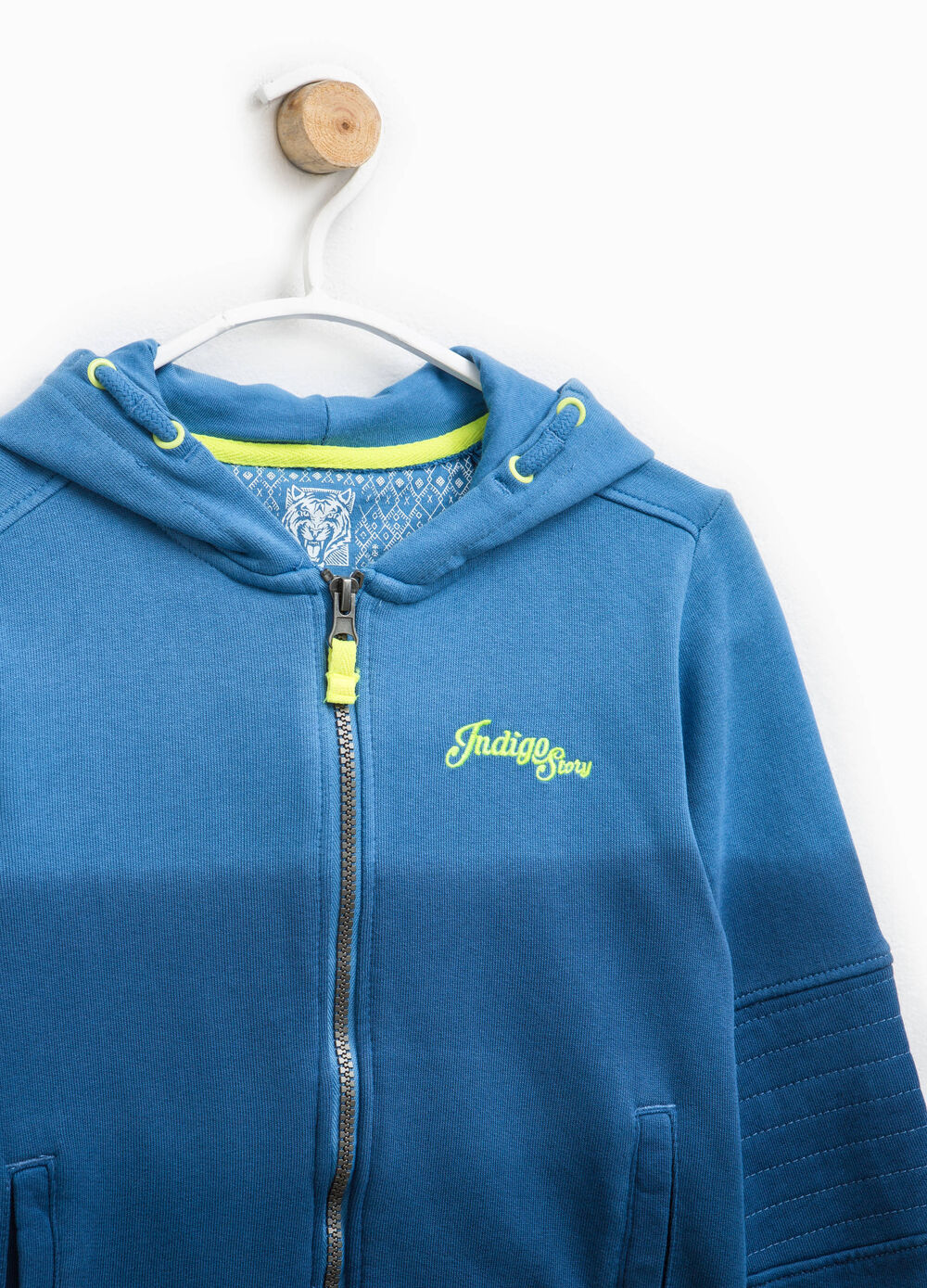 Embroidered degradé cotton hoodie