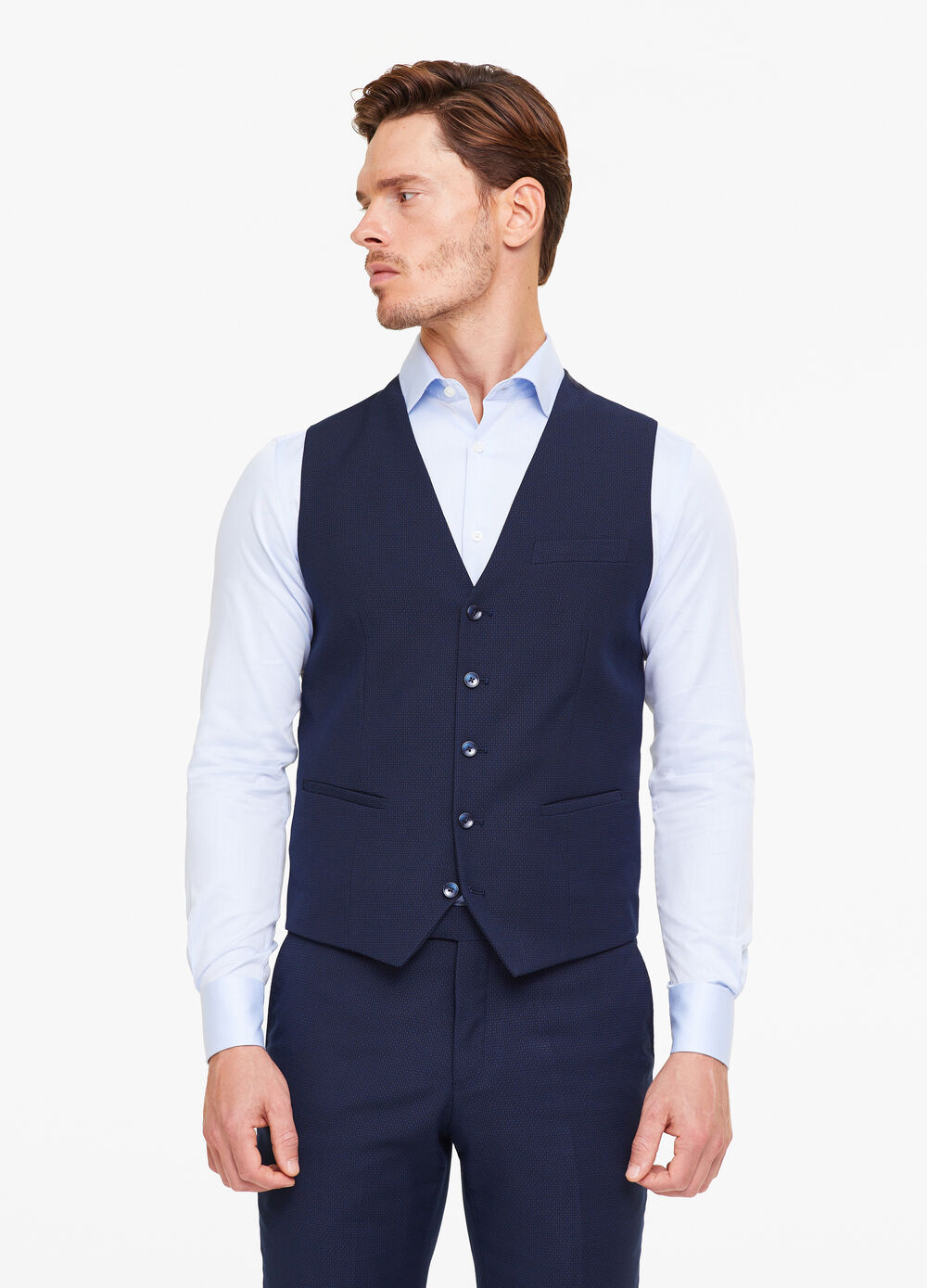 Custom-fit waistcoat with speckled weave