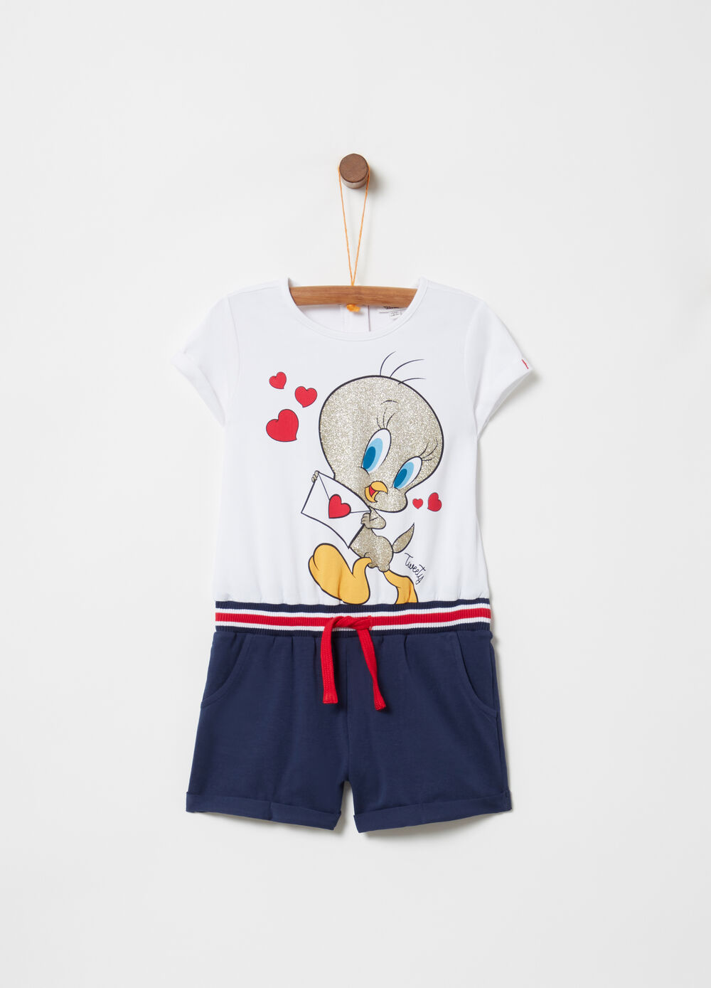 Pinafore with Tweetie Pie print and drawstring