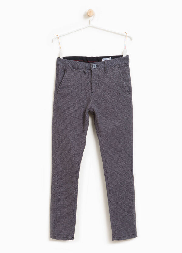 Stretch cotton trousers with micro pattern