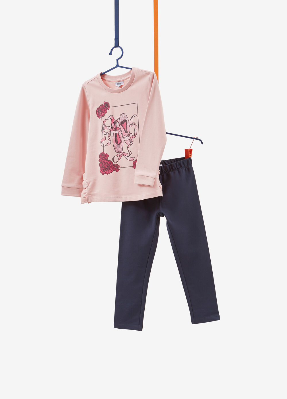 Printed tracksuit in 100% cotton with flounce