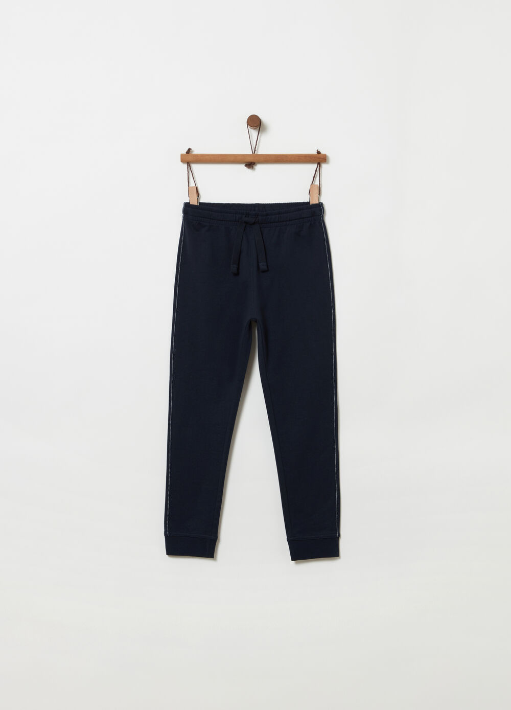 Trousers with drawstring and stitching