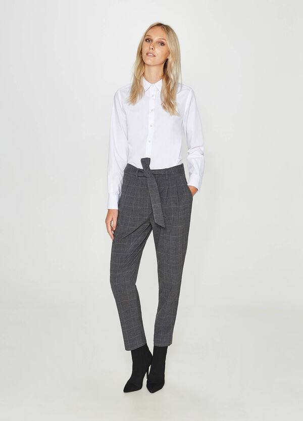 Stretch viscose blend tartan trousers | OVS