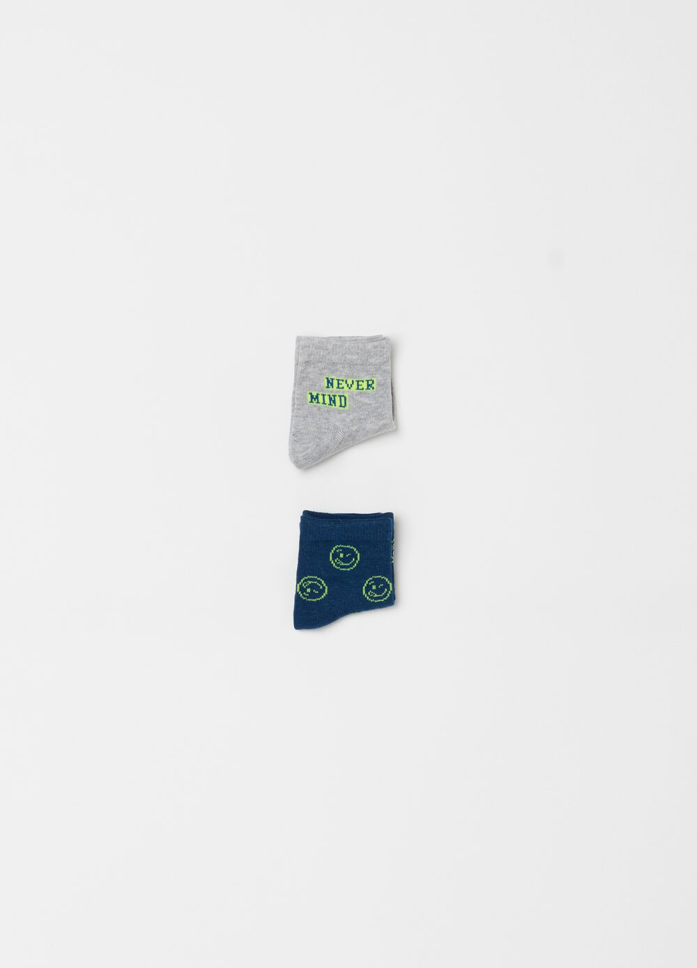 Two-pair pack short socks with smile pattern