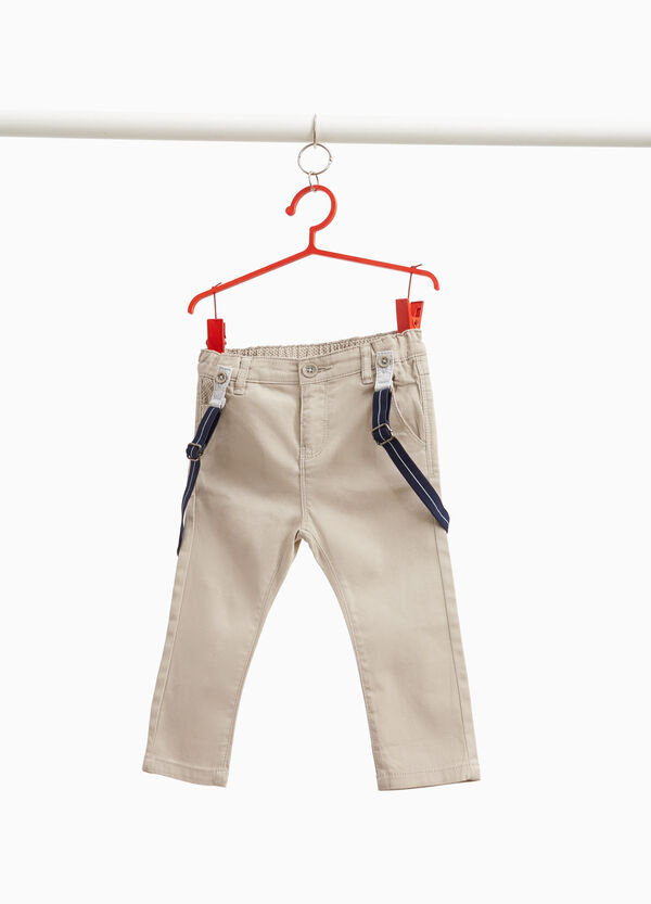 Stretch cotton trousers with braces