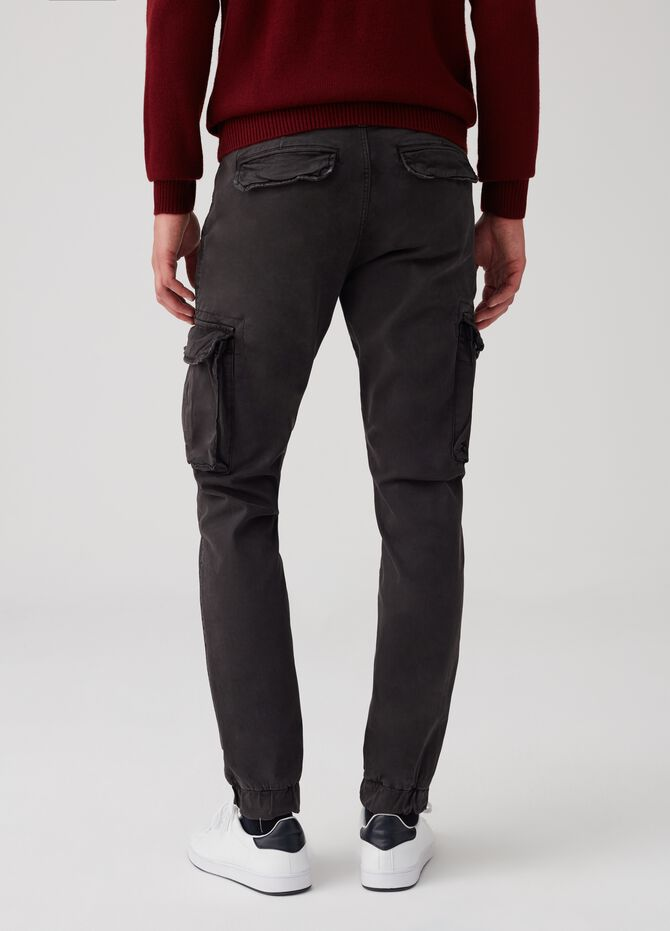 Cargo chino trousers with vintage effect