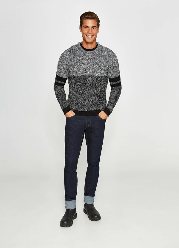 Knit two-tone pullover with inserts | OVS