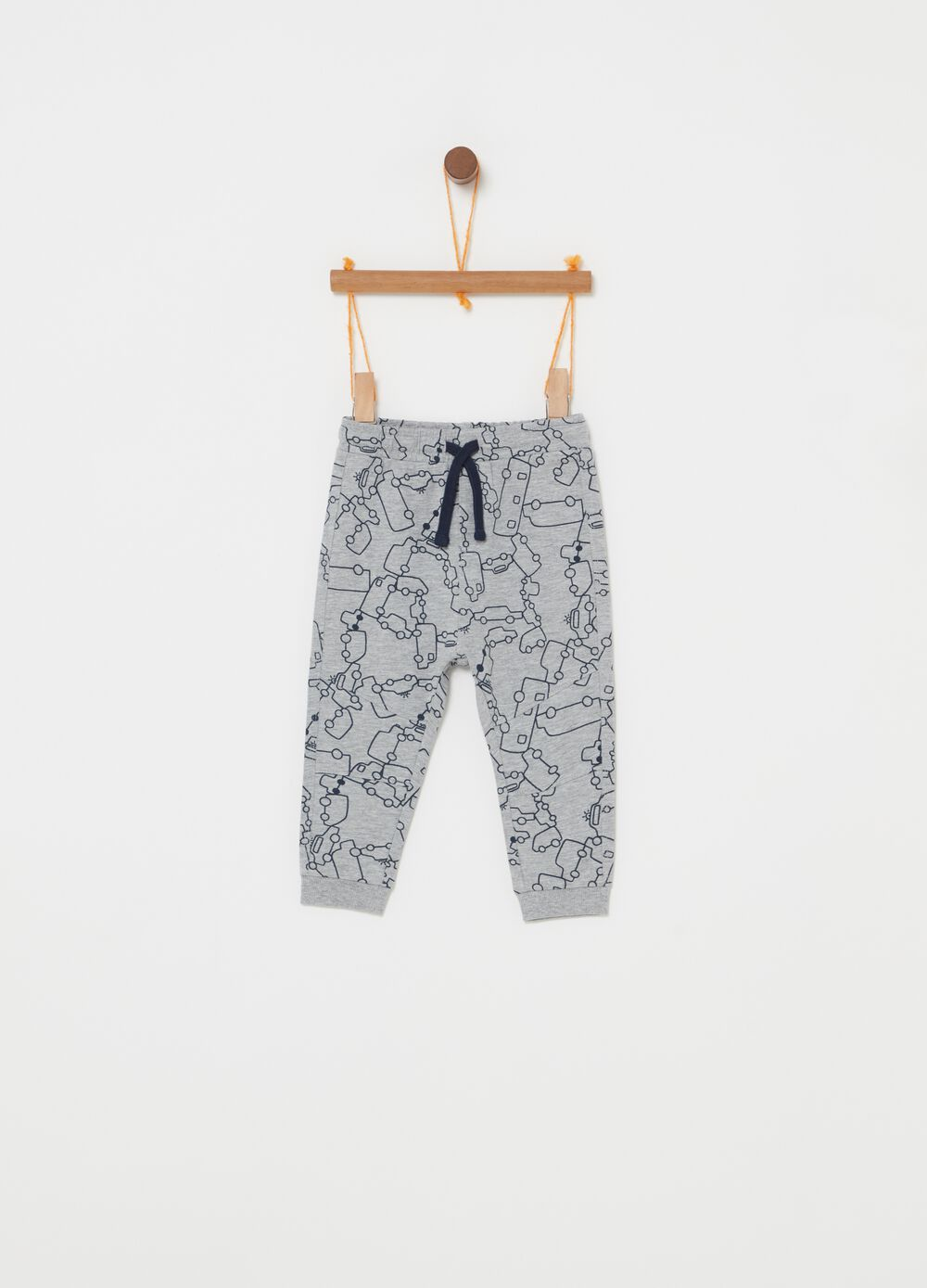 Mélange trousers with drawstring and pattern