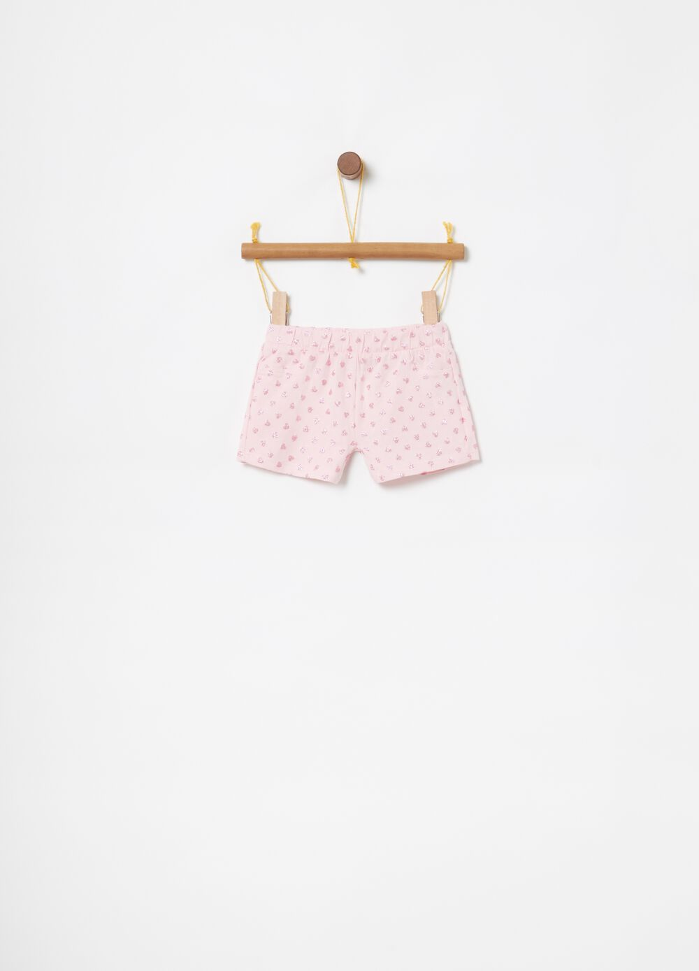 Stretch shorts with glitter print and hearts