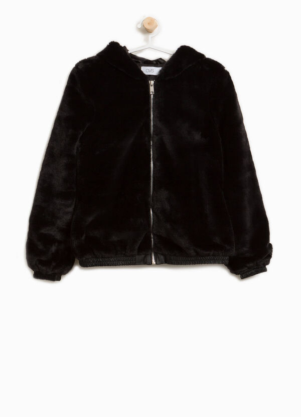 Faux fur bomber jacket with hood | OVS