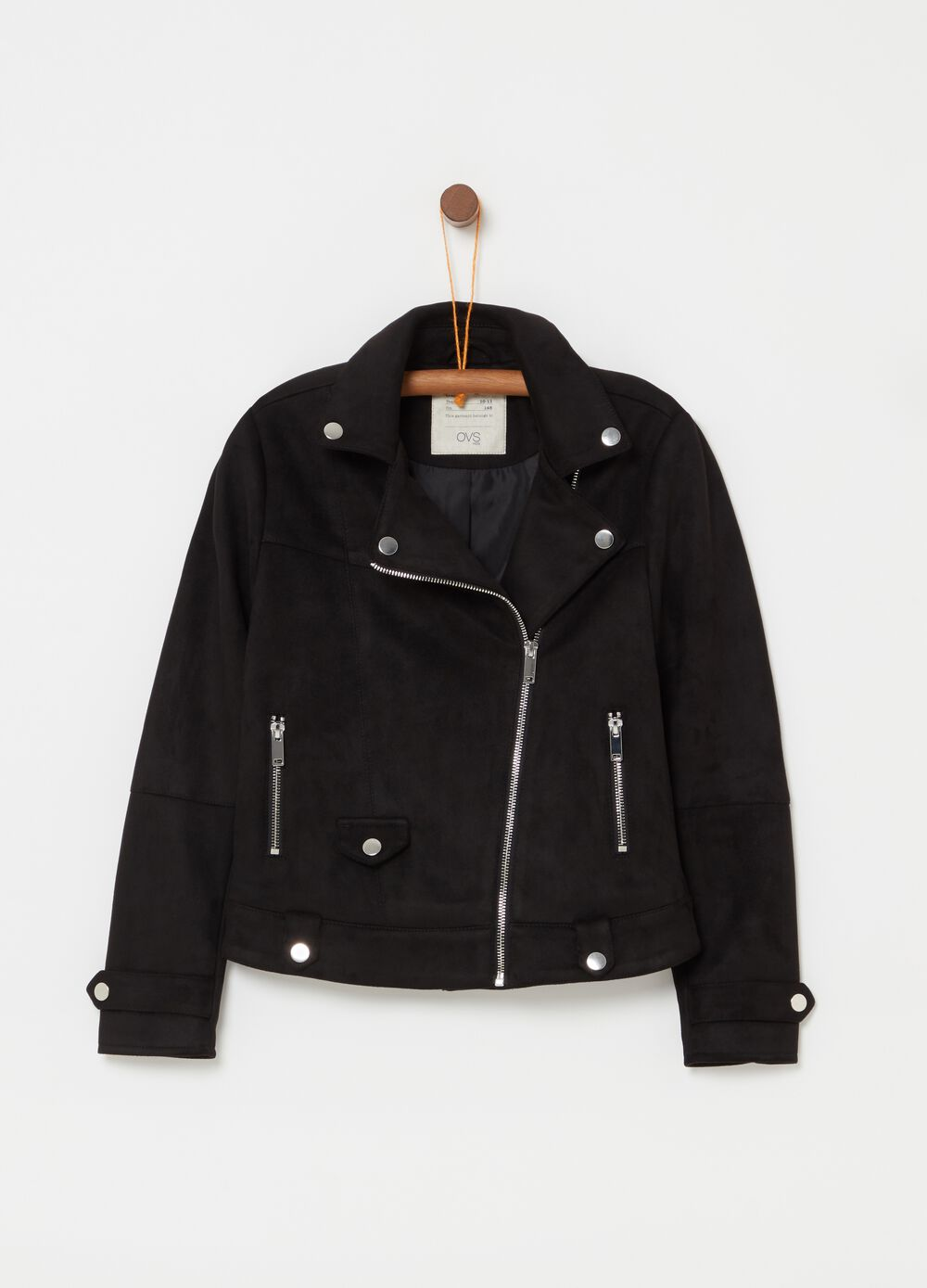 Leather-look jacket with asymmetric fastening