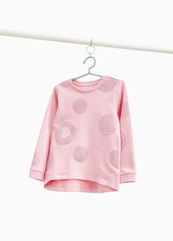 Sweatshirt with maxi glitter polka dot pattern