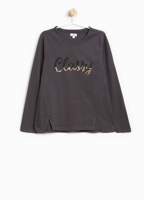 Cotton T-shirt with printed lettering and sequins | OVS