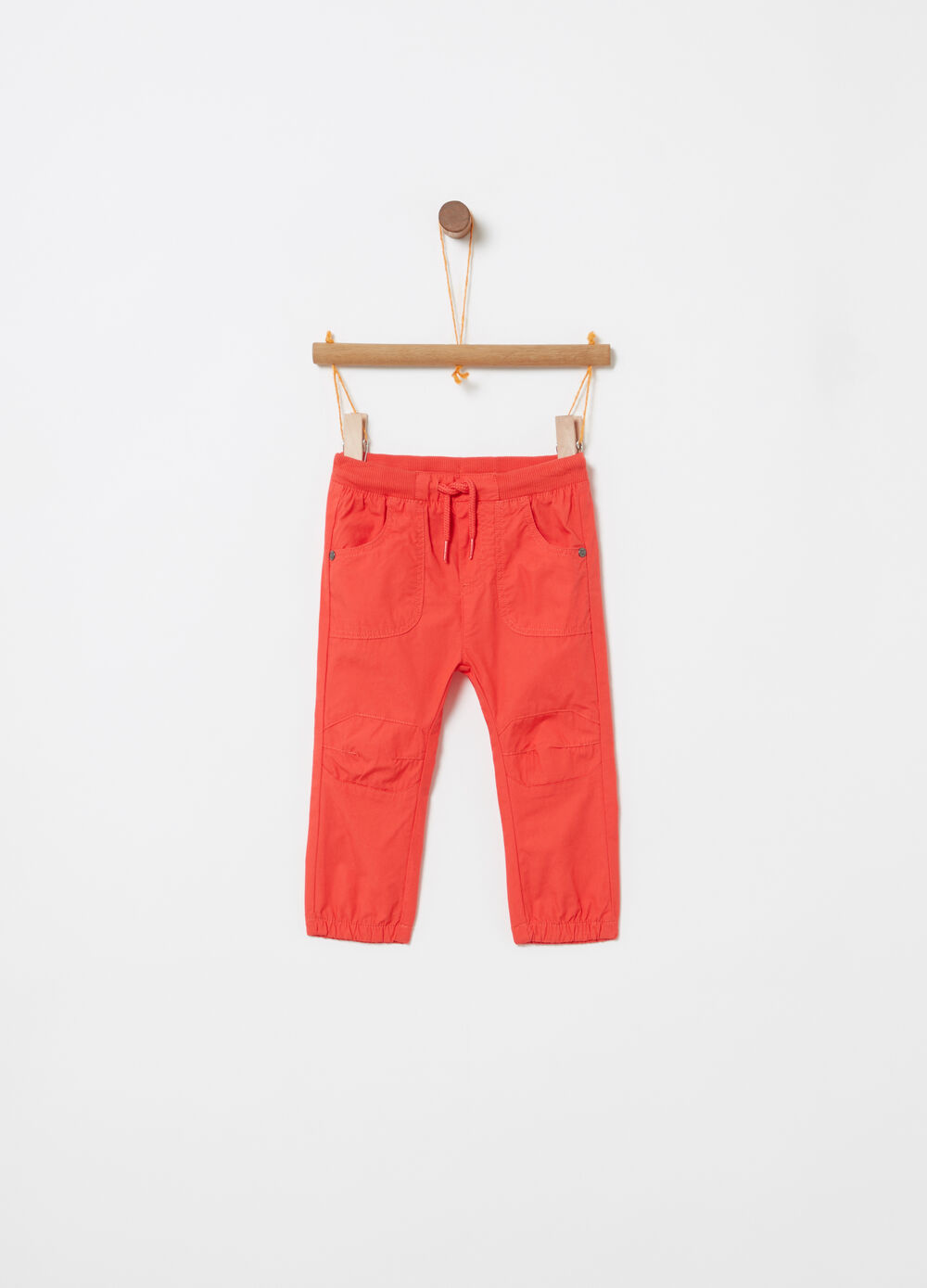 Poplin trousers with drawstring and pockets