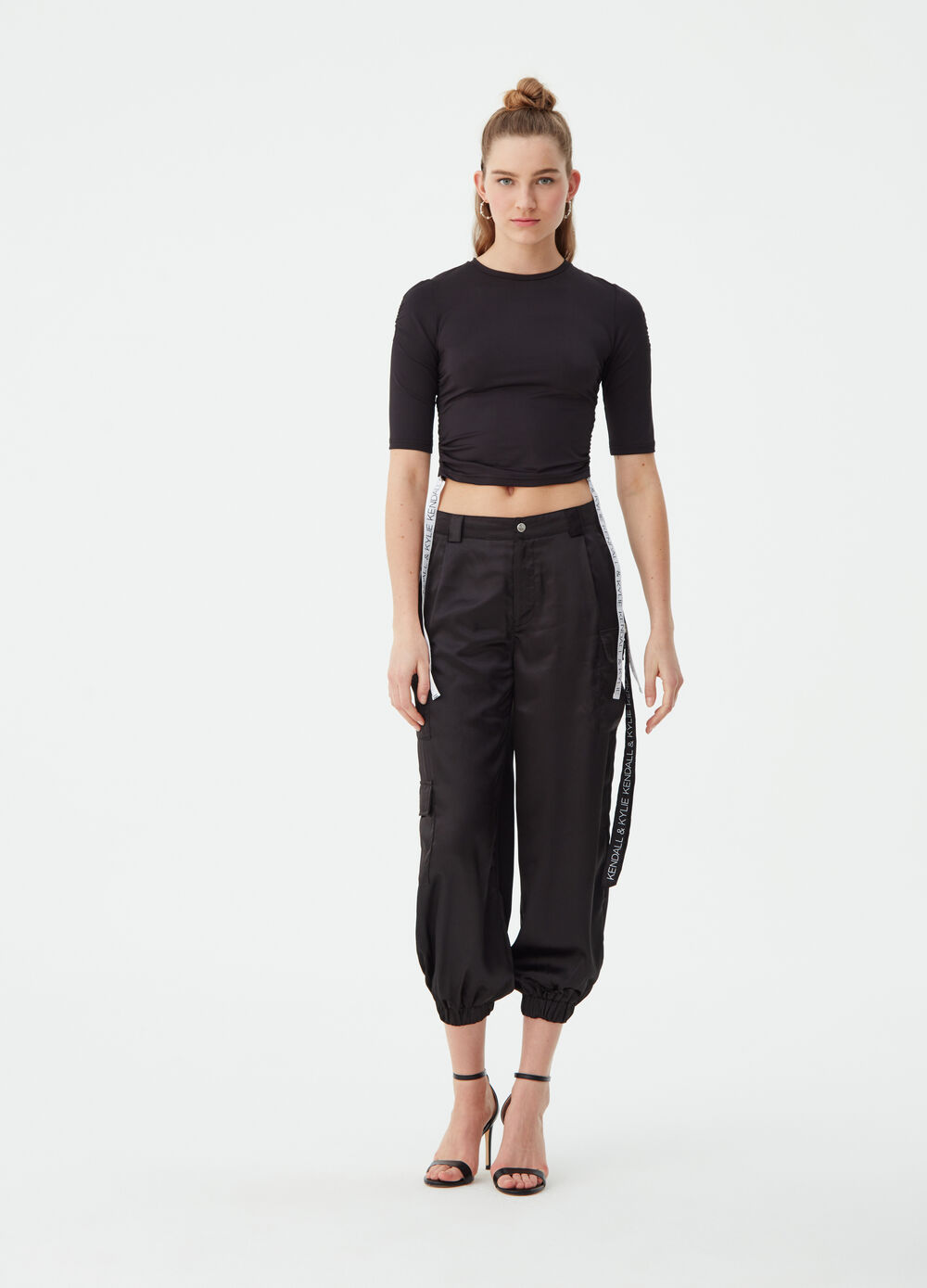 K+K for OVS satin-effect cargo trousers