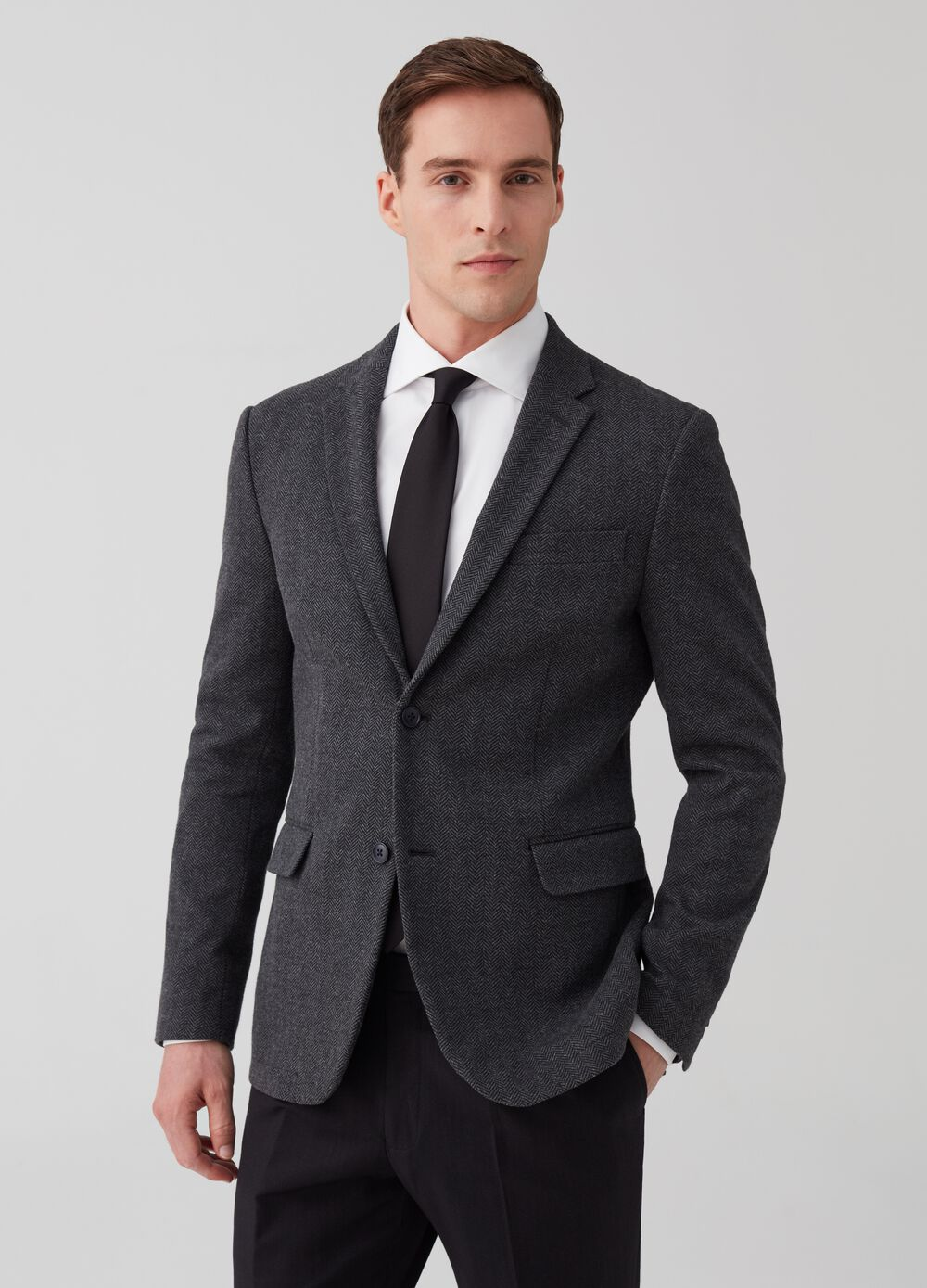 Two-button jacket with herringbone motif