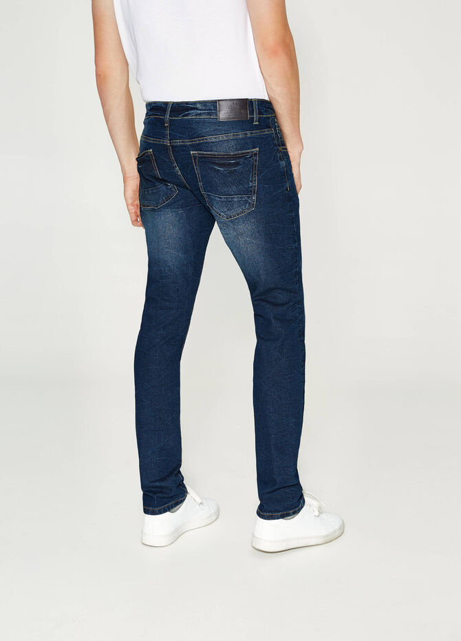 Used-effect slim-fit stretch jeans