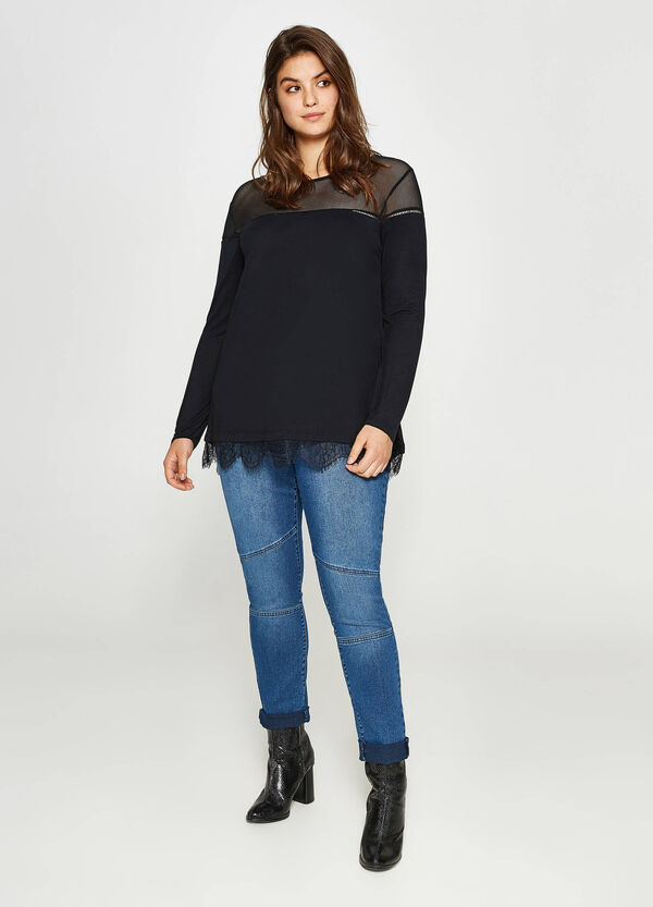 Curvy T-shirt in viscose with lace   OVS