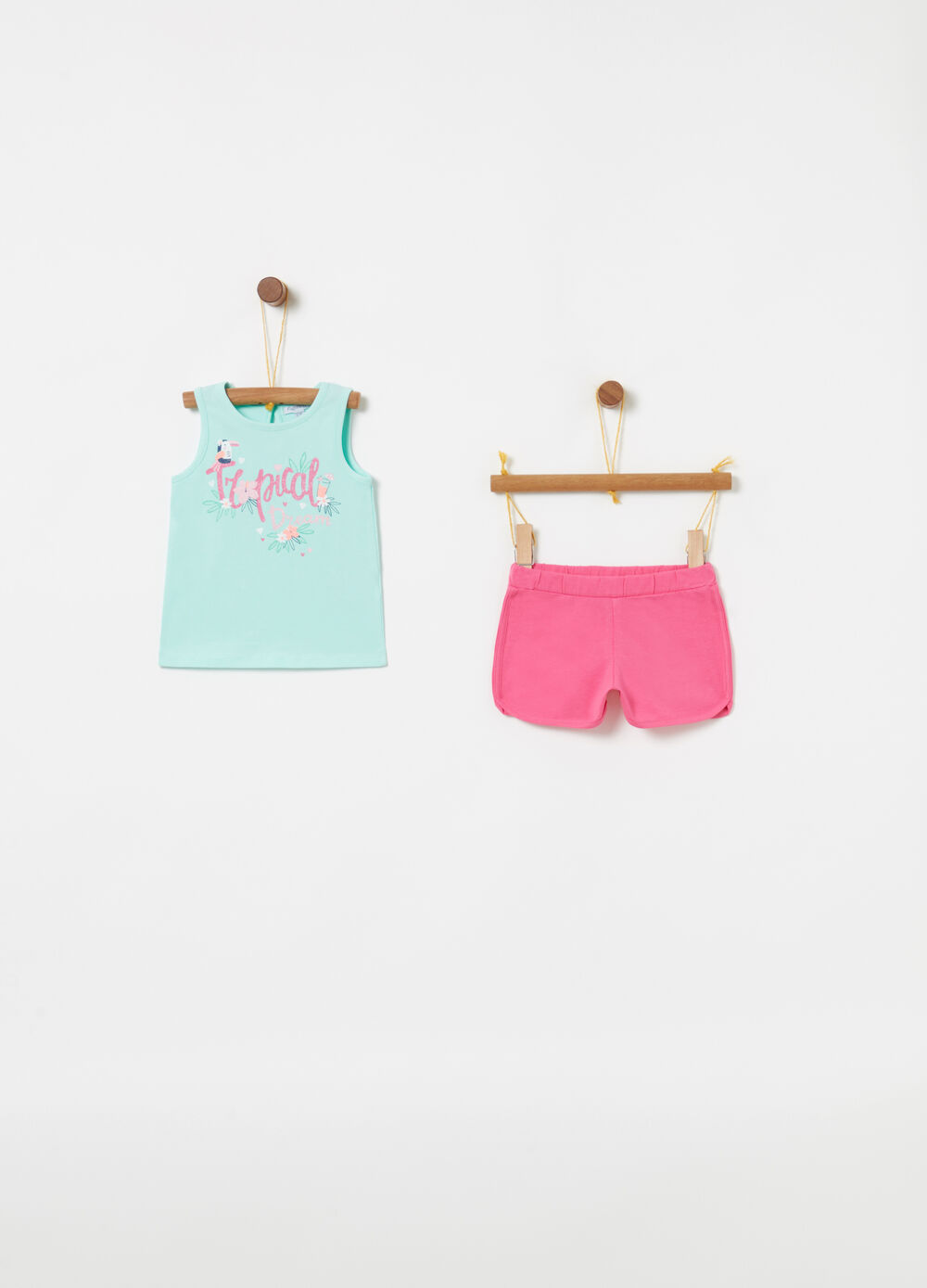 Tank top and shorts jogging set with glitter lettering