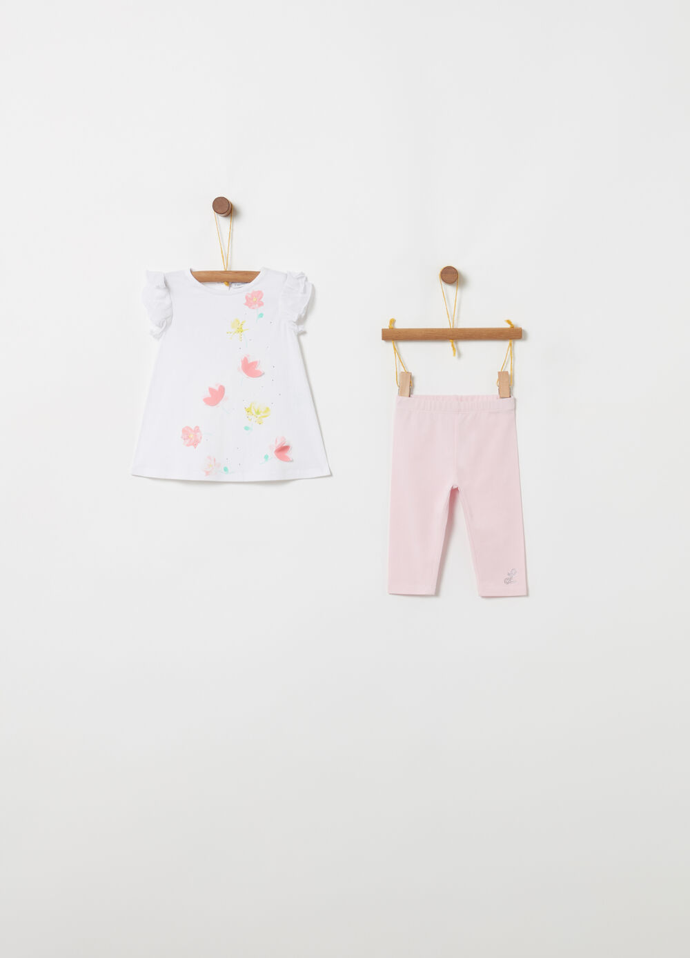 T-shirt and leggings set in stretch biocotton