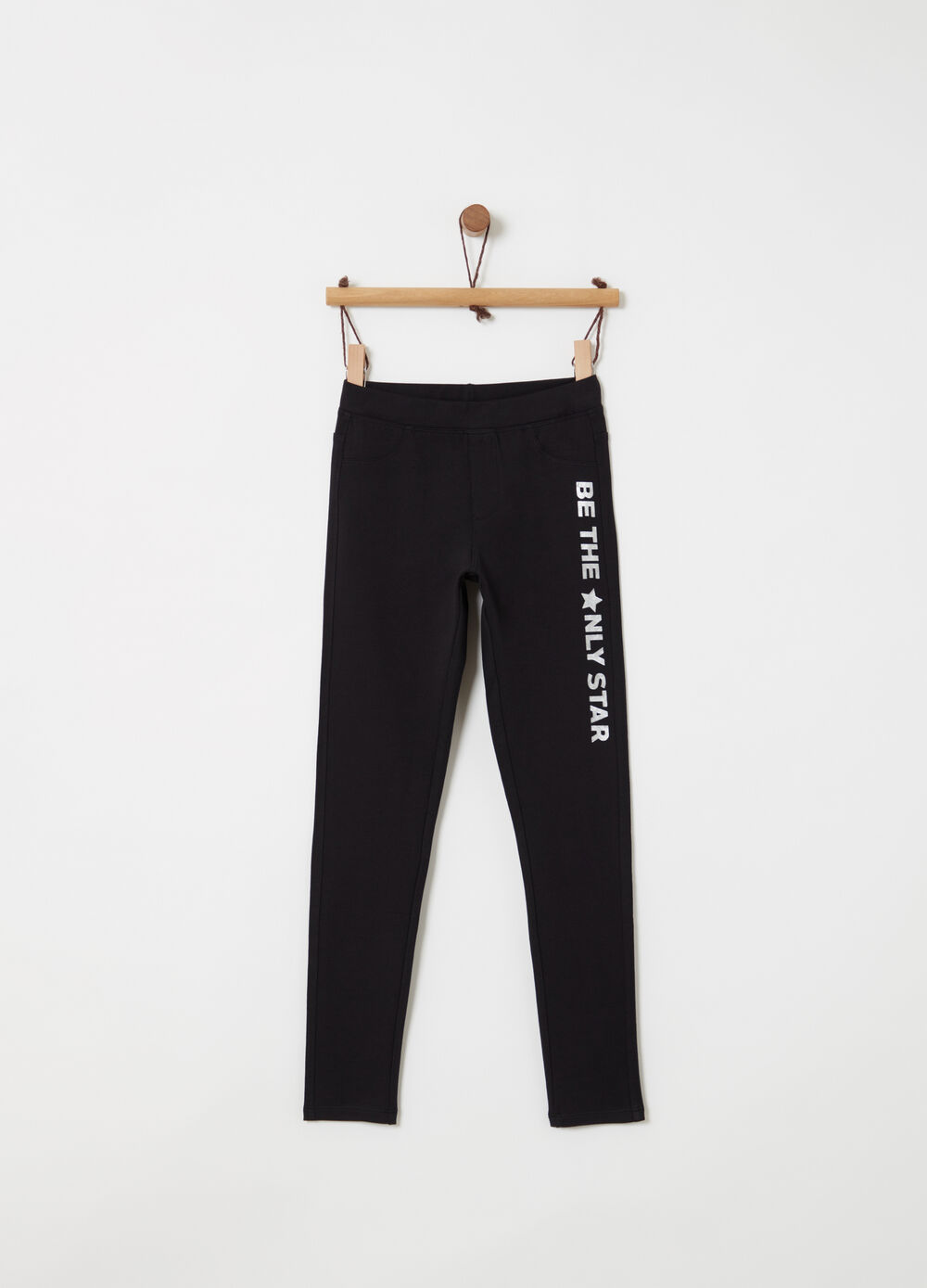 Stretch jeggings with lettering print