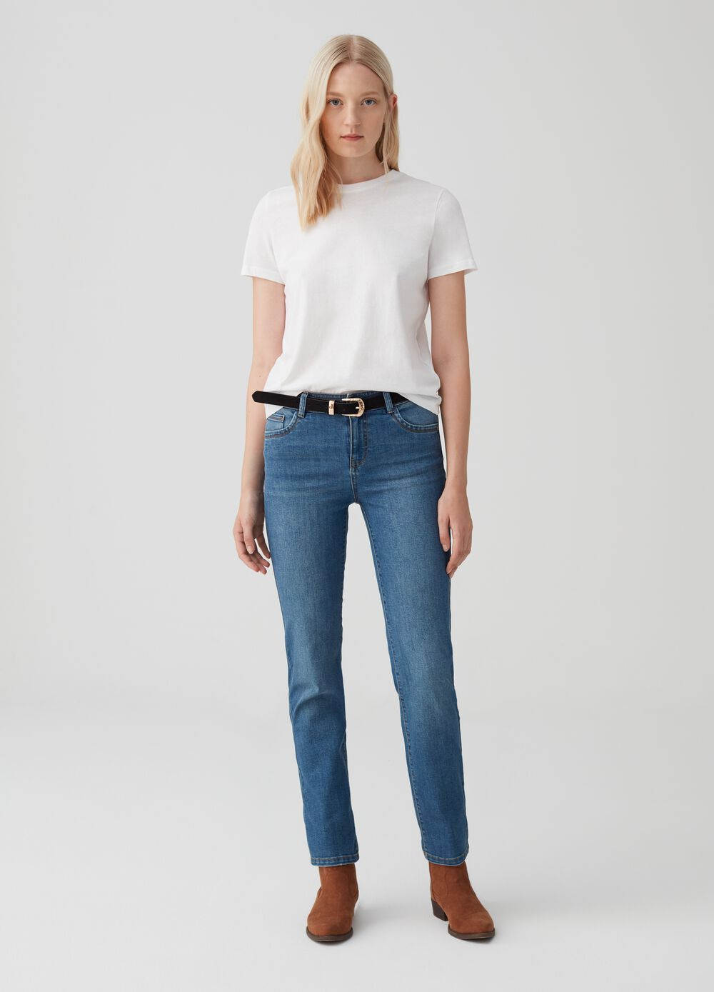 Regular-fit trousers in stretch denim