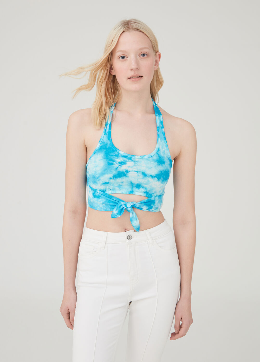 Tie-dyed crop tank top in cotton