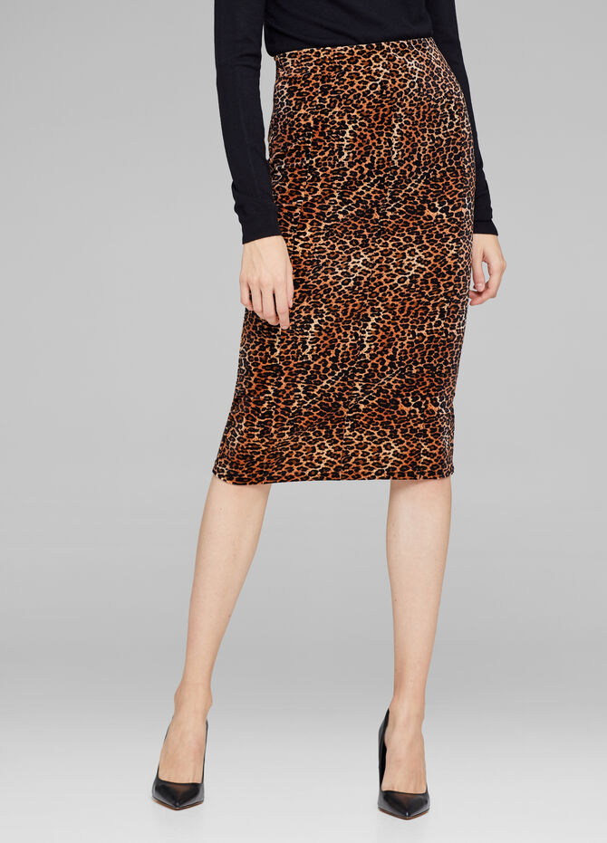 Stretch leopard-print pencil skirt