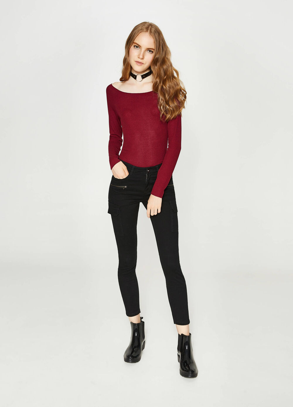 Ribbed T-shirt in stretch viscose