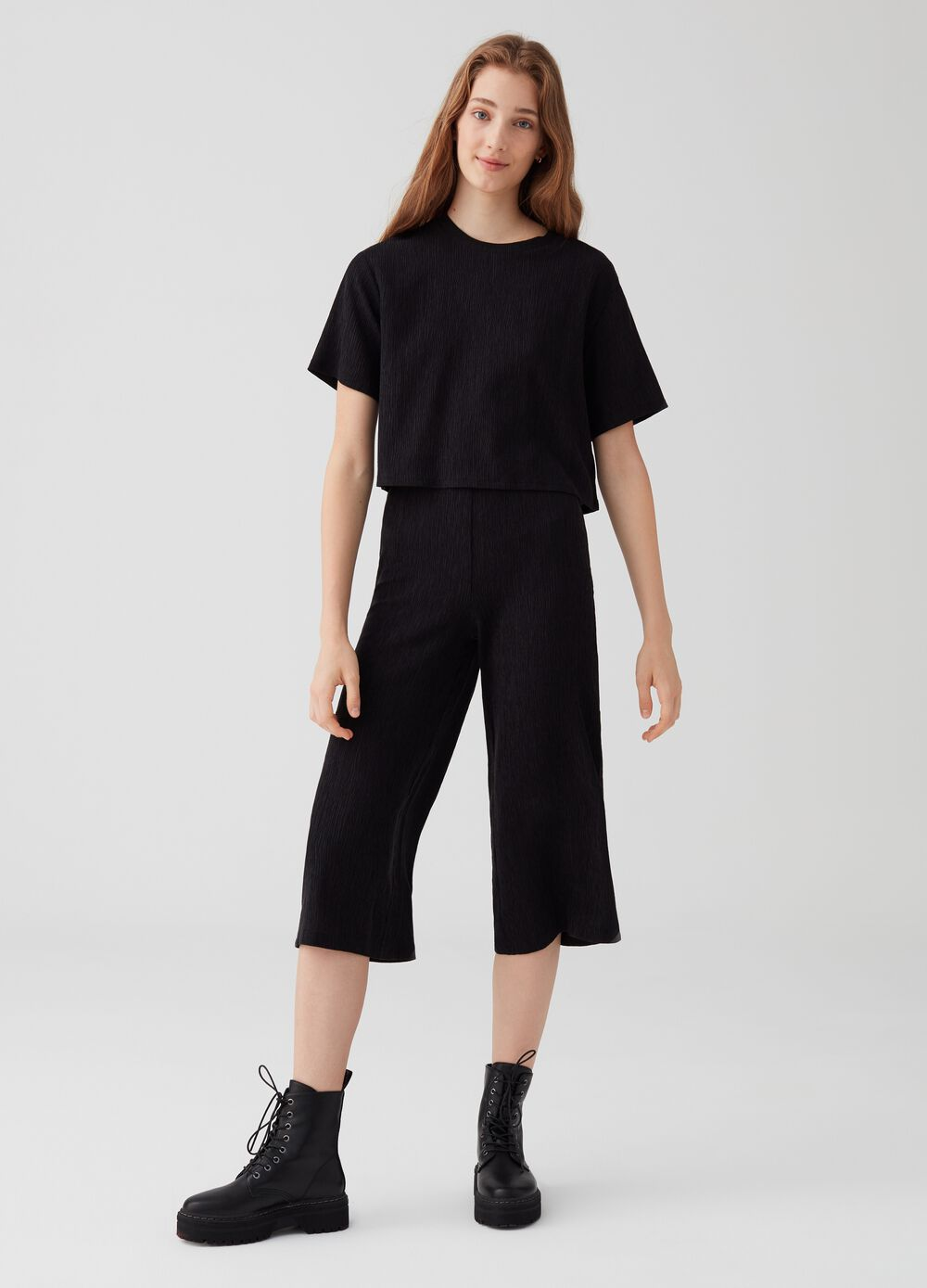 Stretch culottes with high waist