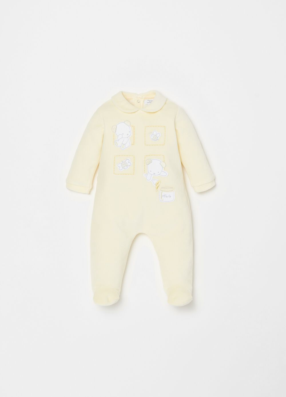 Onesie with feet and teddy bear embroidery