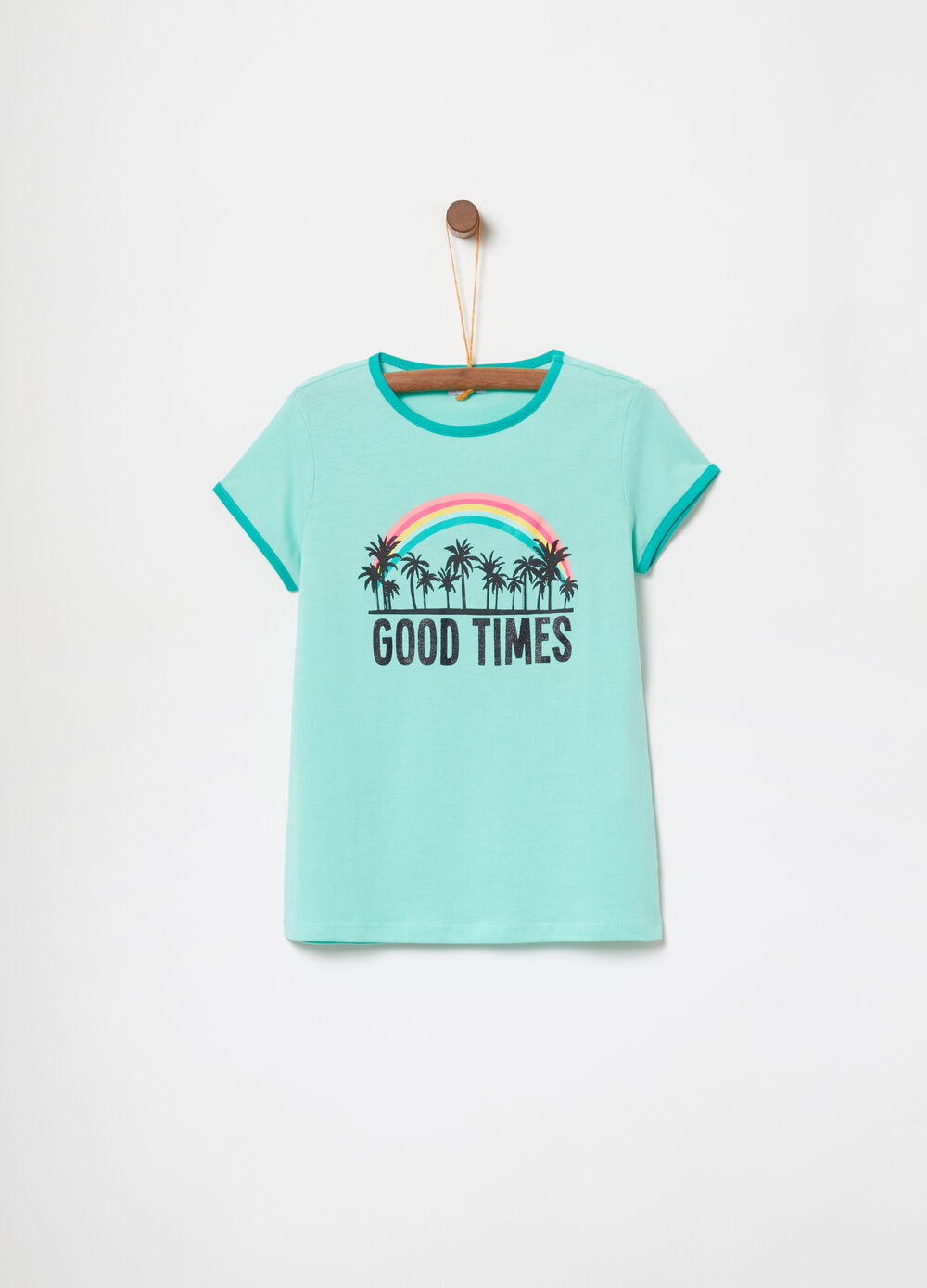 Cotton T-shirt with lettering and palms print