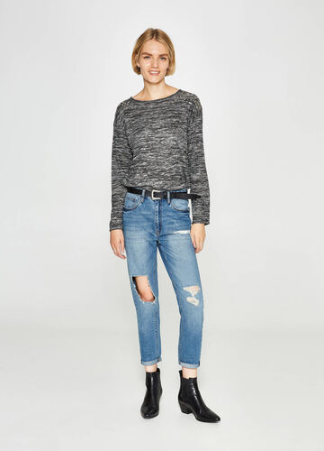 Boyfriend-fit worn-effect jeans with rips