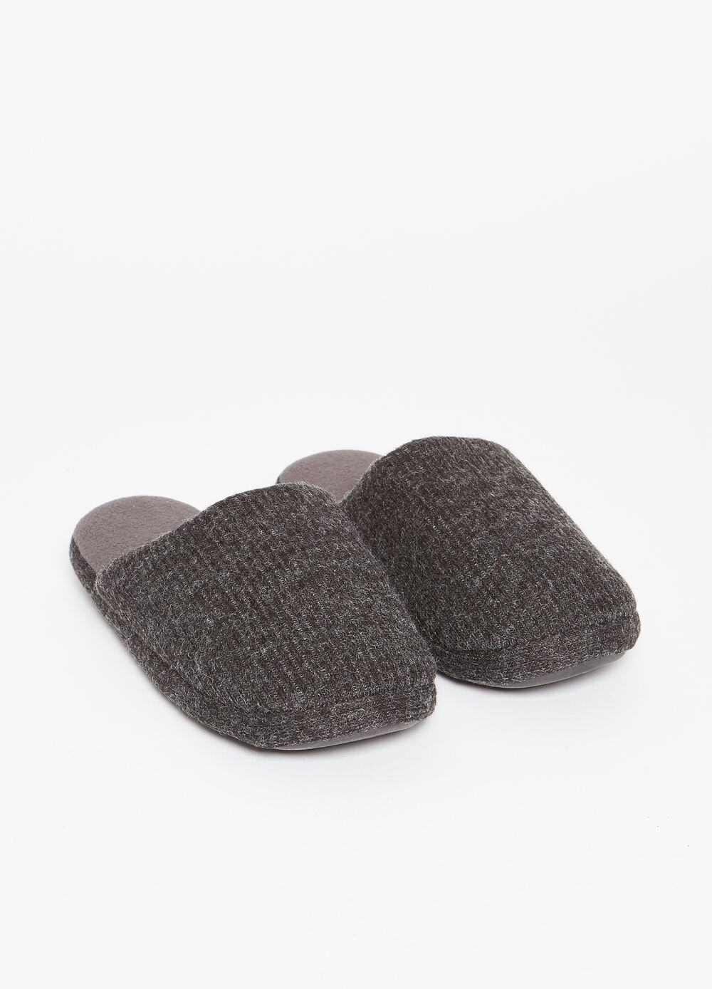 Striped weave mélange slippers