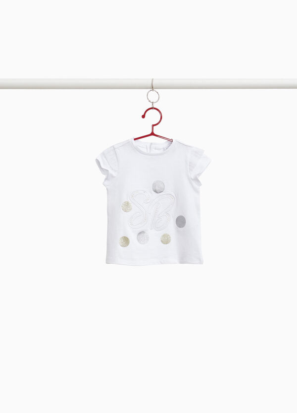 100% cotton T-shirt with glitter print
